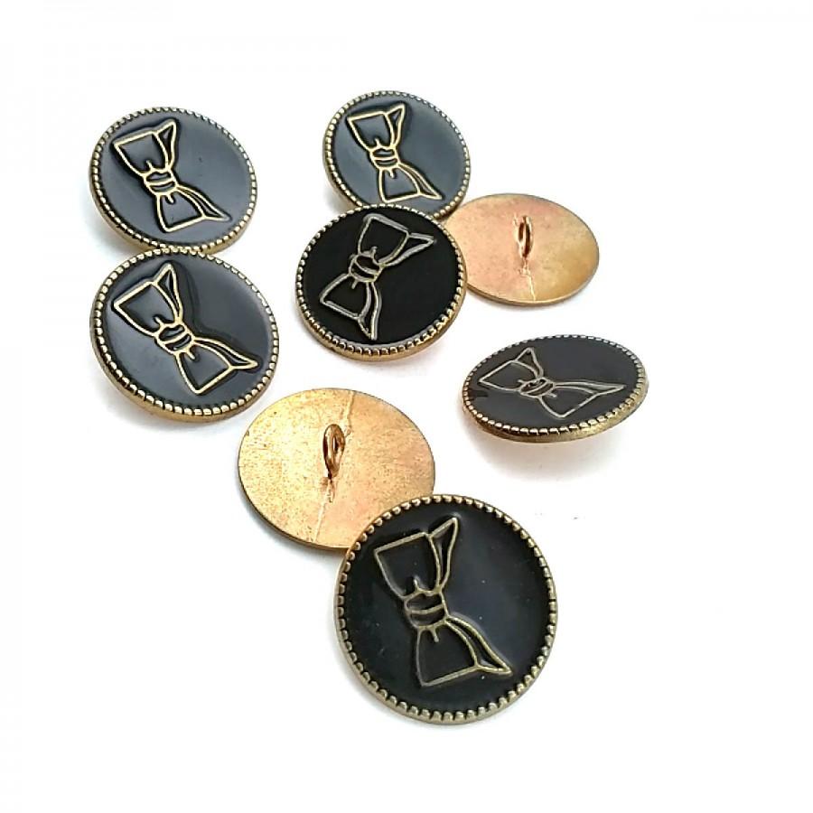 Ayaklı Düğme Papyon Desenli Desenli Ortası Mineli 23 mm - 37 Boy D 0006