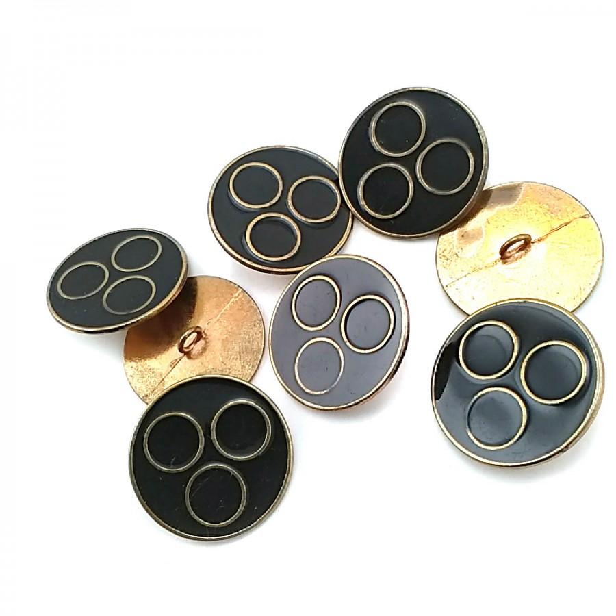 Halkalar Desenli Mineli Ayaklı Düğme 27 mm - 43 Boy D 0007