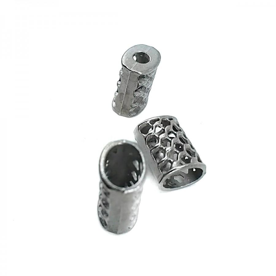 Bal Peteği Tasarımlı Metal Bağ ucu boy 11 mm giriş 5 mm B0002