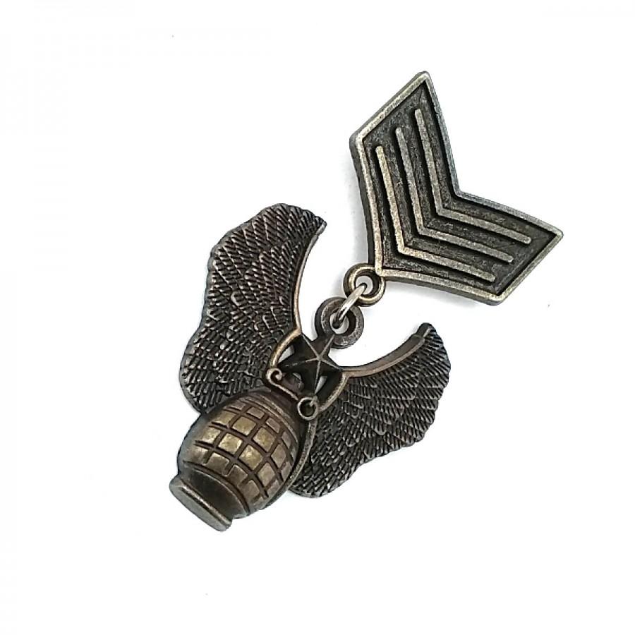Madalya Broş - Askeri Armalı Antik Sarı Broş BRS0007