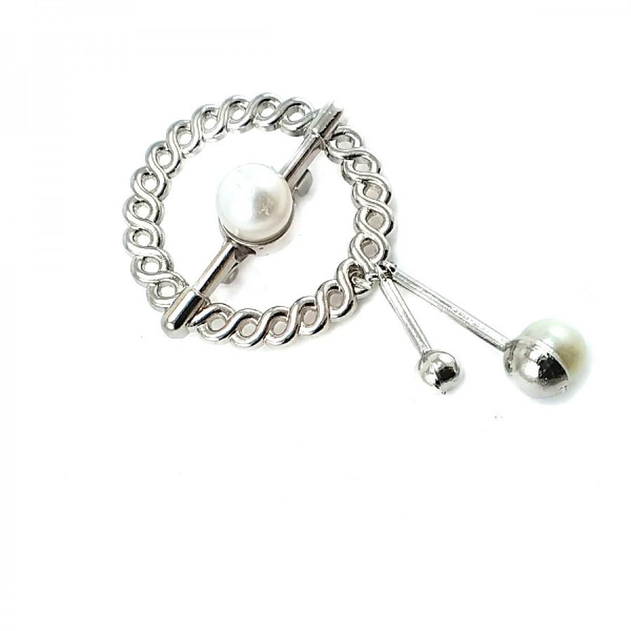 İnci Taşlı Gümüş Renk Broş BRS0020