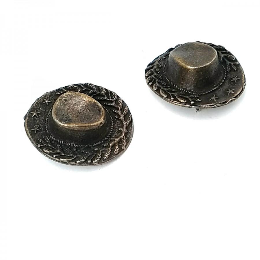 Kovboy Şapkası Antik Sarı Renk Şık Broş BRS0012