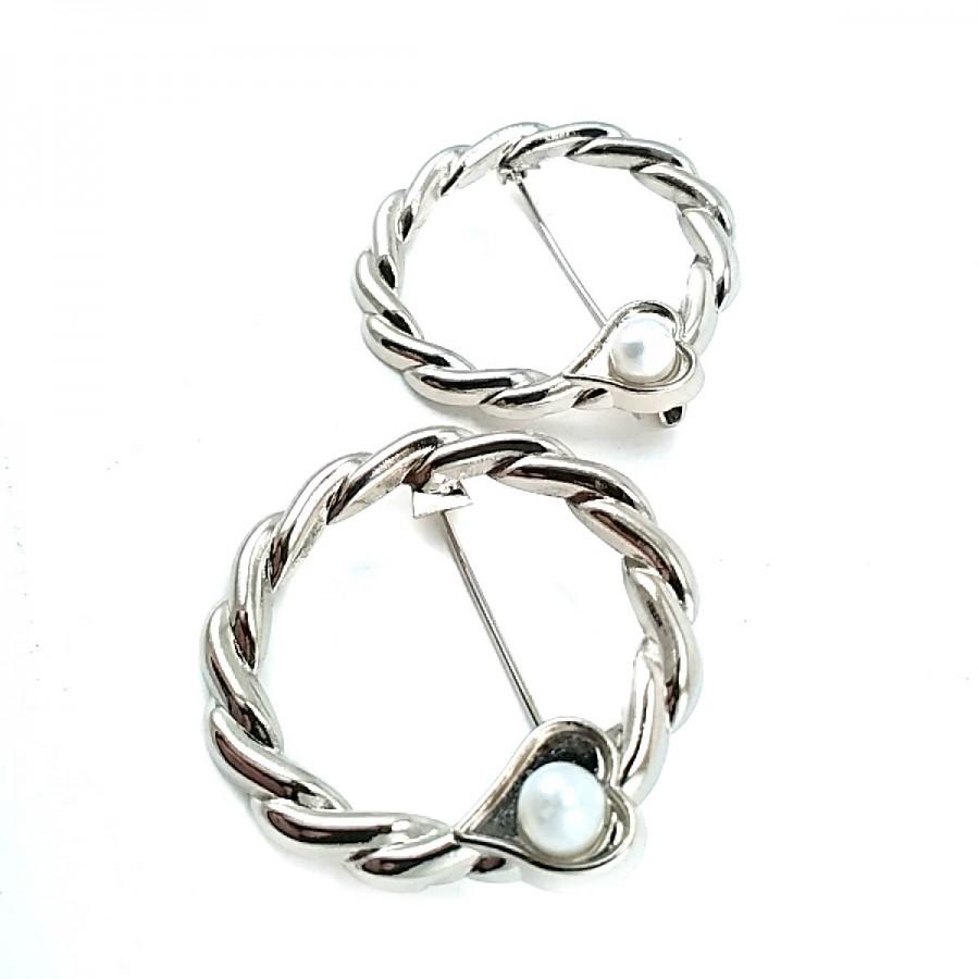 İnci Taşlı Halka Şekil Gümüş Renk Broş BRS0015