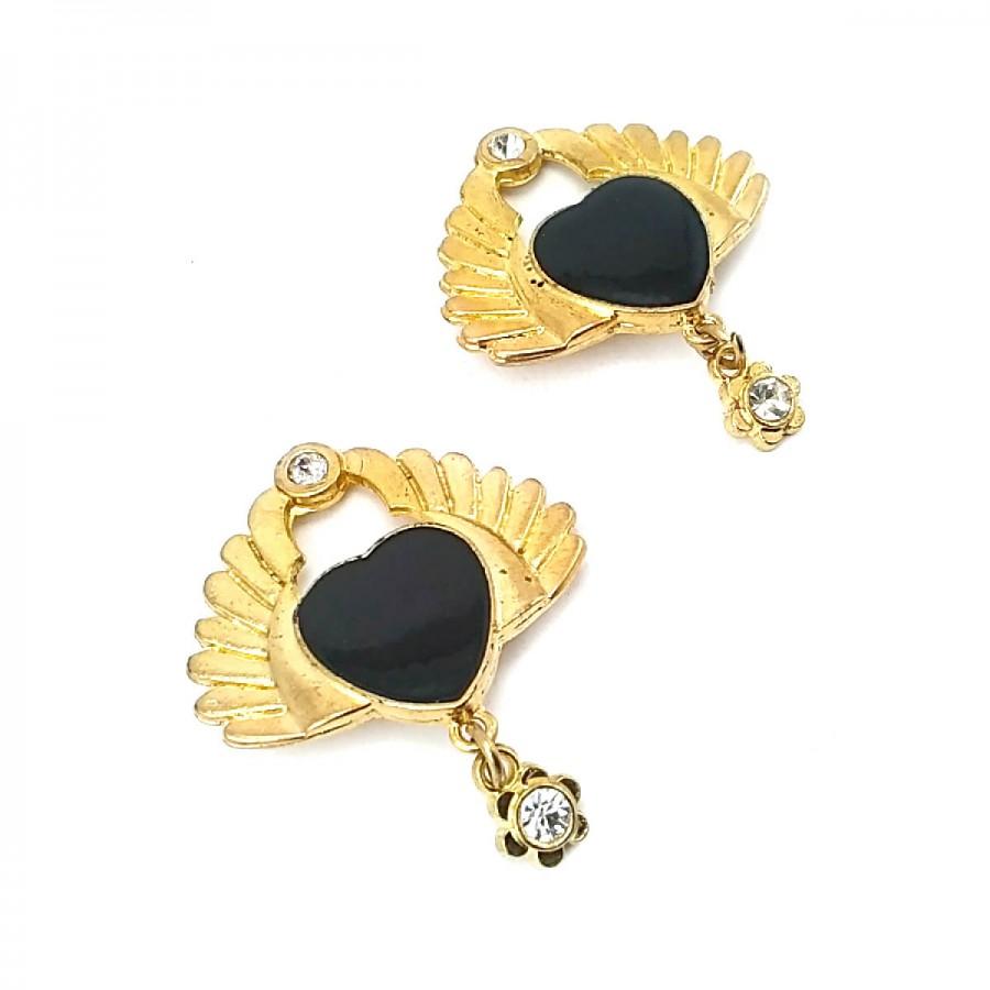 Siyah Taşlı Altın Renk Şık Broş BRS0016