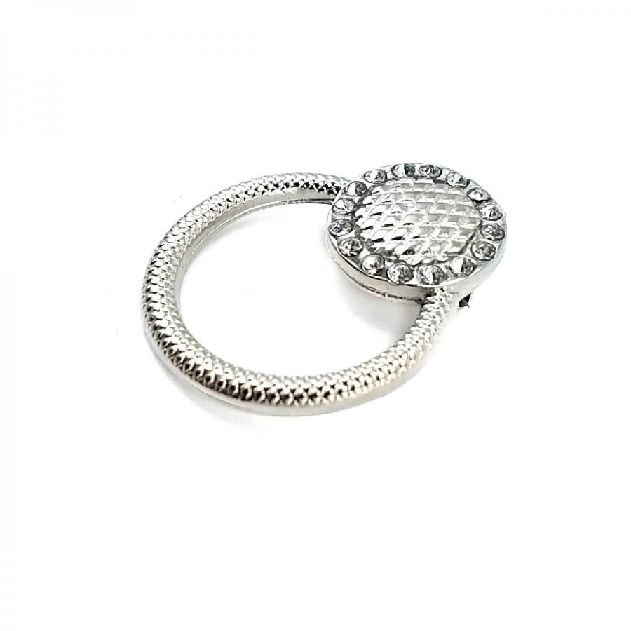 Estetik Taşlı Halka Şekil Gümüş Renk Broş BRS0017