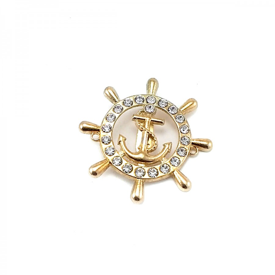 Dümen Şekil, Çapa Logolu Altın Renk Metal Broş BRS0019