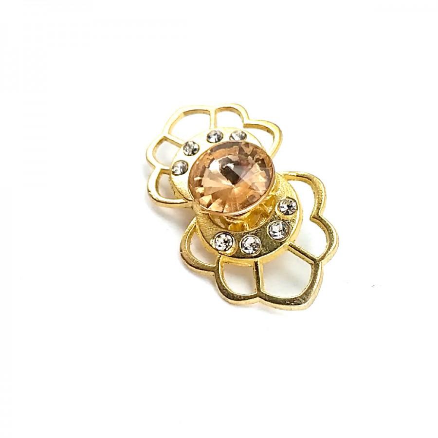 Taşlı Şık Altın Renk Metal Broş BRS0023