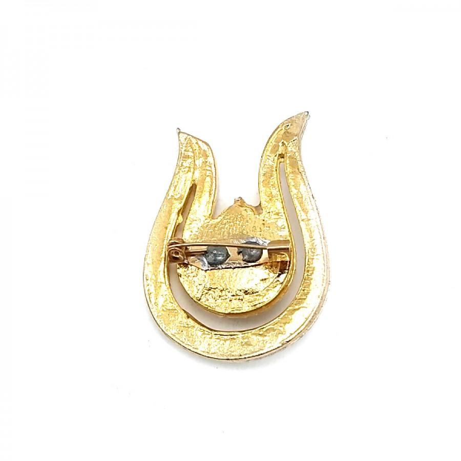 Çok Şık Taşlı Altın Renk Broş BRS0024