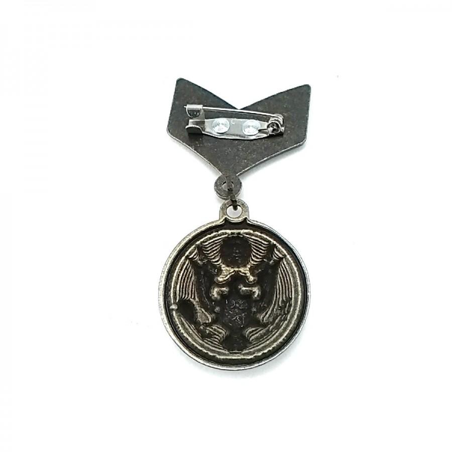 Askeri Armalı Madalya Tipi Antik Sarı Broş BRS0025