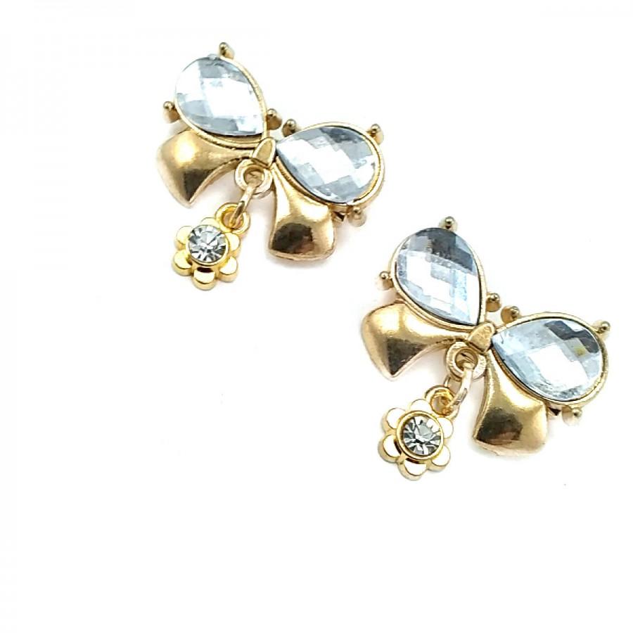 Çift Taşlı Şık Altın Renk Metal Broş BRS0027