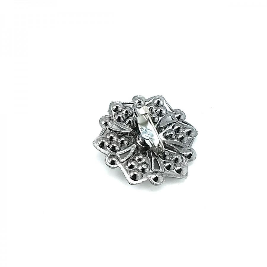 Motif Desenli ve Taşlı Gümüş Metal Broş BRS0028