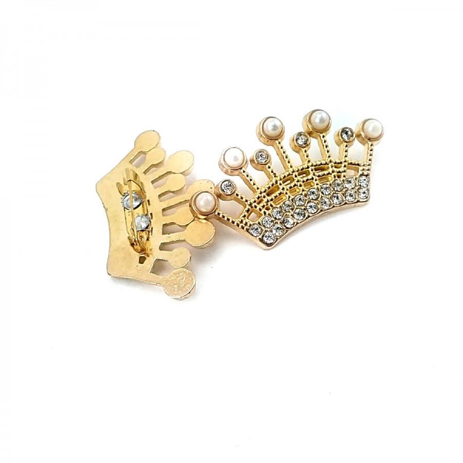 Taç Şekil Taşlı Altın Renk Broş BRS0039