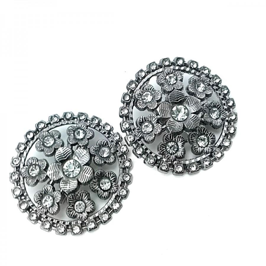 Estetik ve Taşlı Gümüş Renk Metal Broş BRS0040