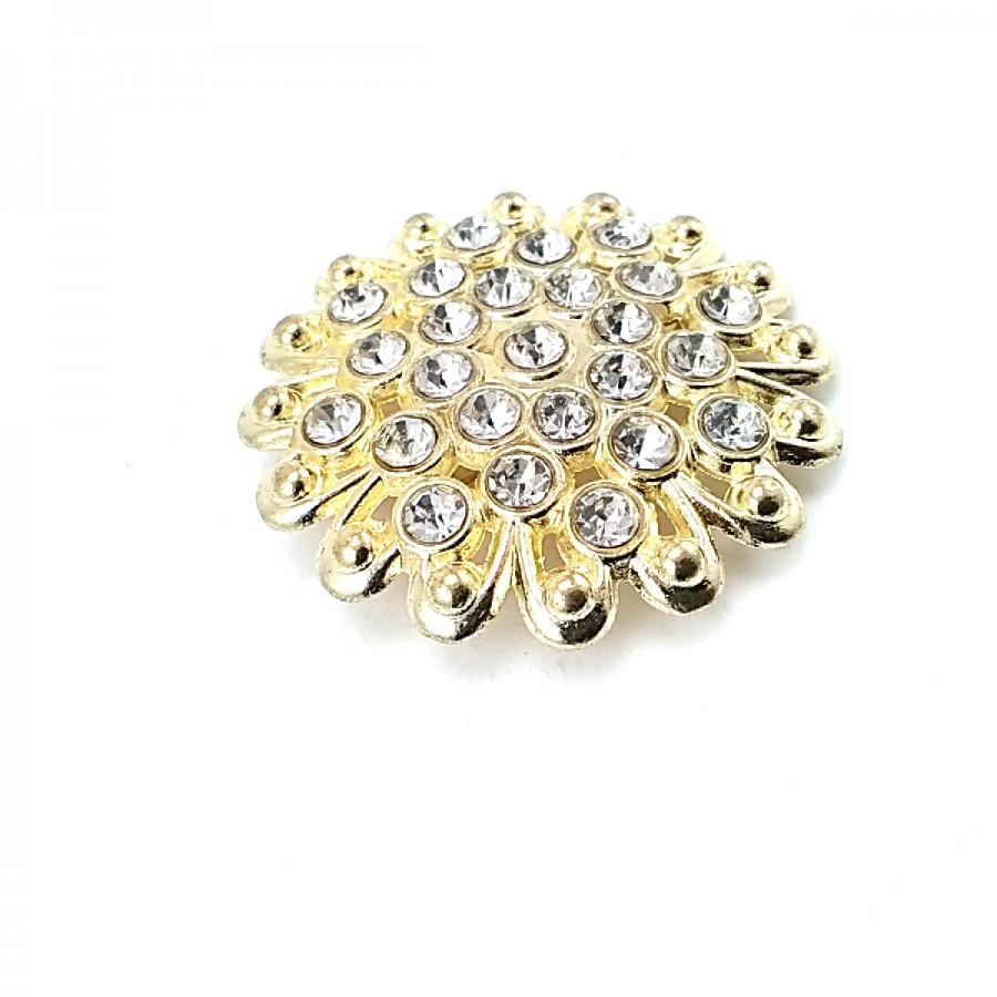 Estetik ve Taşlı Altın Renk Metal Broş BRS0042