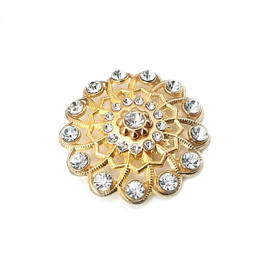 Taşlı Estetik Altın Renk Metal Broş BRS0043