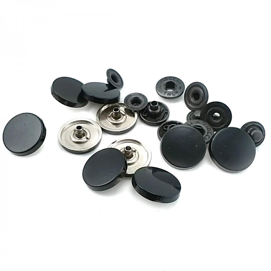 Metal Siyah Kaplamalı çıtçıt düğme 16 mm 26 boy C0005