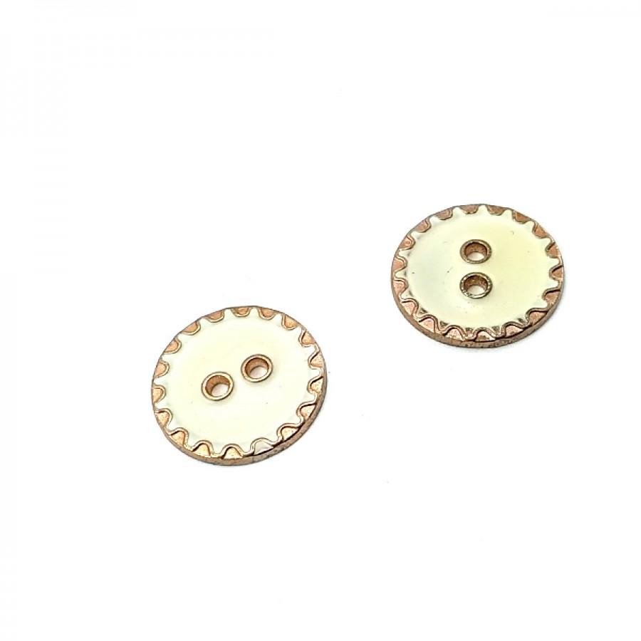 22 mm - 35 Boy Kenarları Zikzak Desenli  Mineli 2 Dikme Düğme D 0018