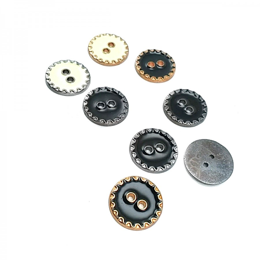 17 mm - 27 Boy Kenarları Zikzak Desenli  Mineli 2 Dikme Düğme D 0019