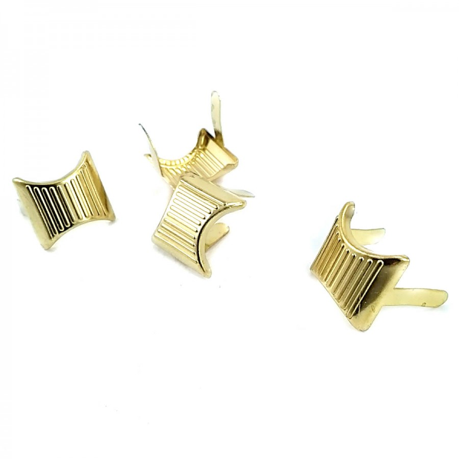 17 x 17.50  mm Çizgili Metal Fiyonk F0002