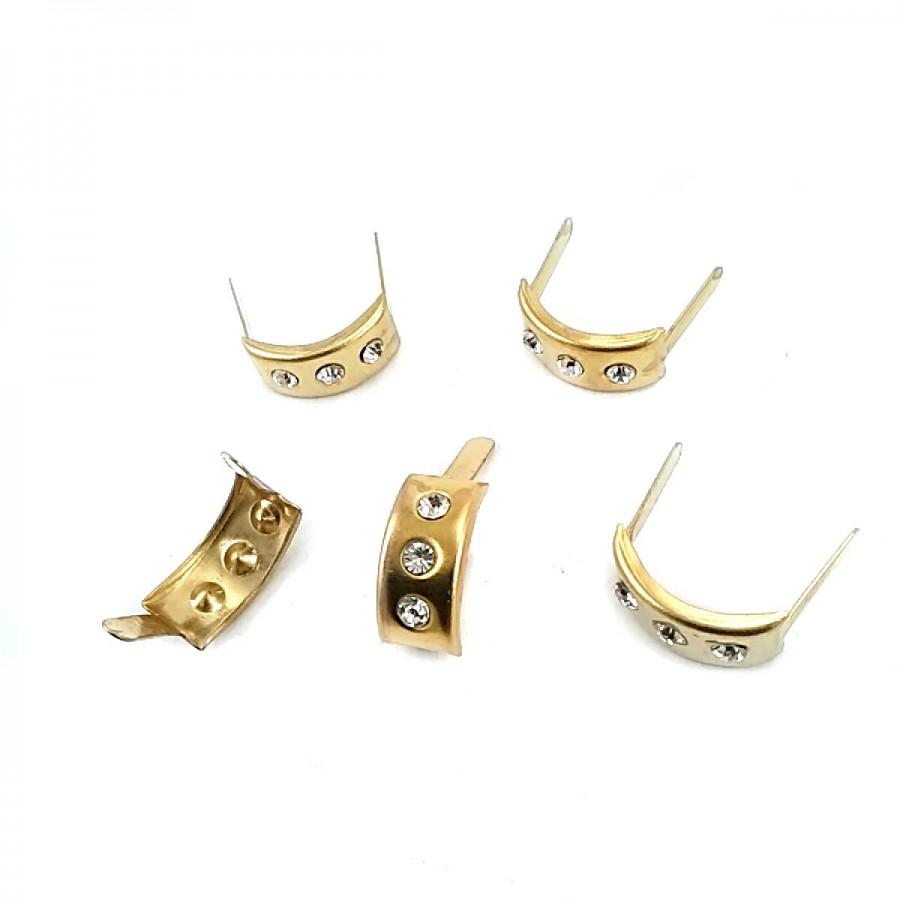 17.5 x 7.5 mm Üç taşlı Metal Fiyonk F0009