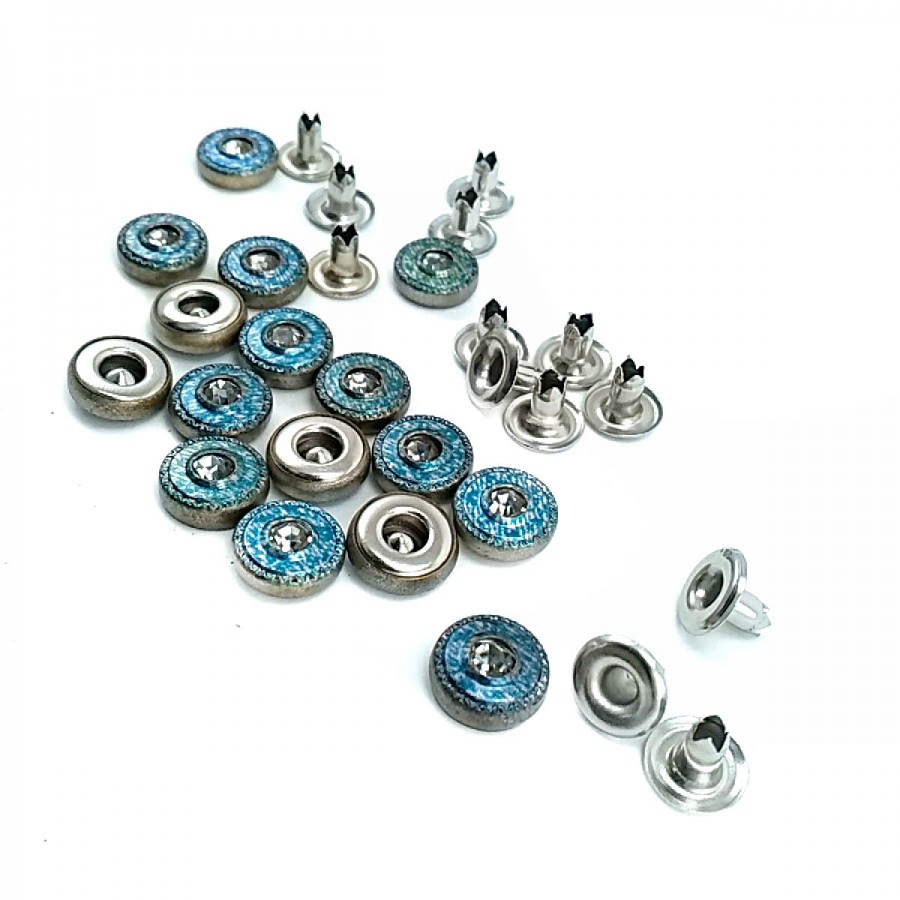Cam Taşlı Mavi tasarımlı Rivet 10 mm 16 boy  R0015