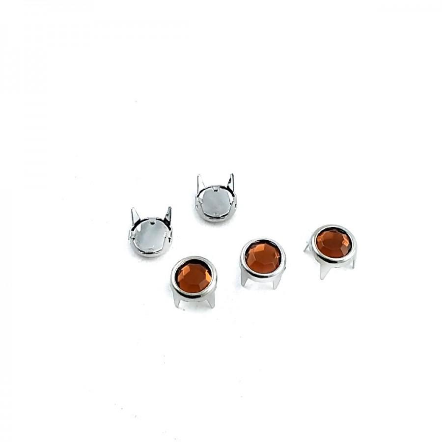 Turuncu Taşlı 8 mm Pirinç Trok TR0002